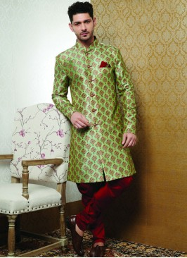 Wedding Function Wear Green Color Designer Kurta Pajama