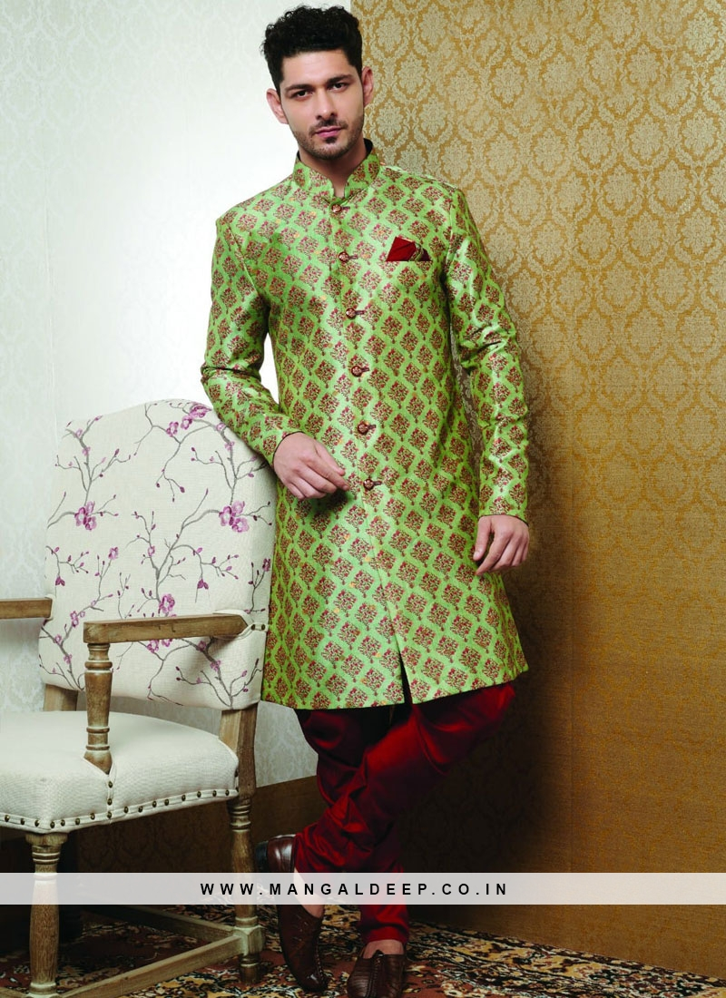 Wedding Function Wear Green Color Designer Kurta Pajama