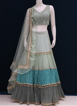 Wedding Function Wear Green Color Designer Lehenga Choli