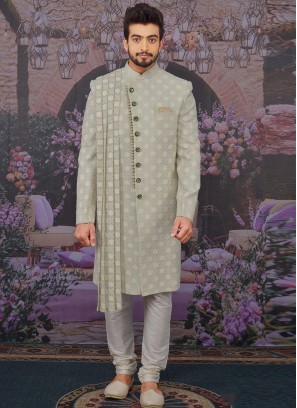 Wedding Function Wear Green Color Designer Sherwani For Men