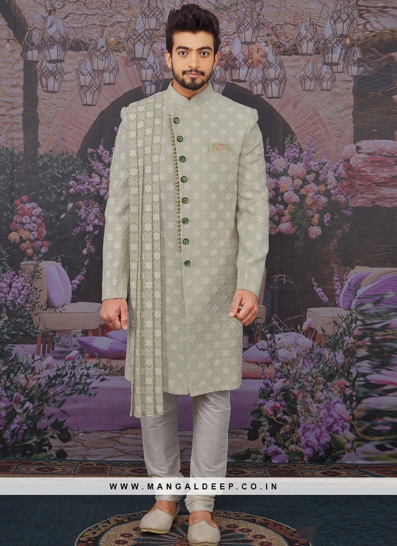 Wedding Function Wear Green Color Designer Sherwani For Men