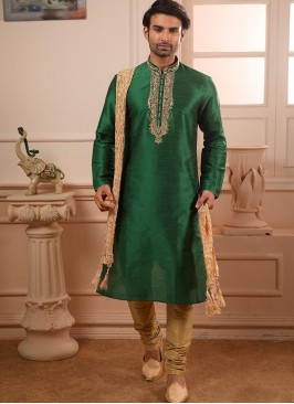 Wedding Function Wear Green Color Embroidered Kurta Pajama