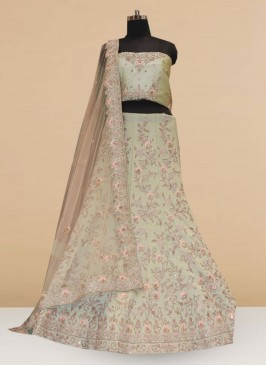 Wedding Function Wear Green Color Embroidered Lehenga Choli