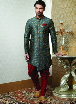 Wedding Function Wear Green Color Indo Western Kurta Pajama
