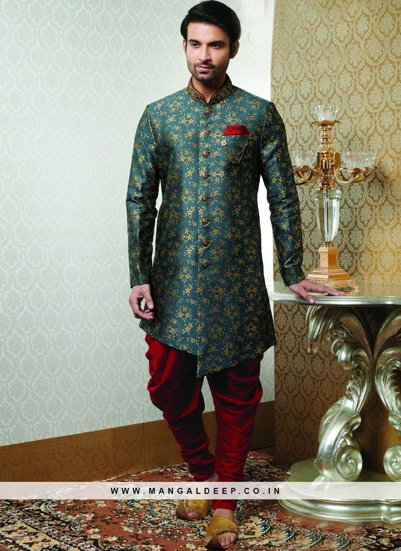 Wedding Function Wear Green Color Indo Western Kurta Pajama