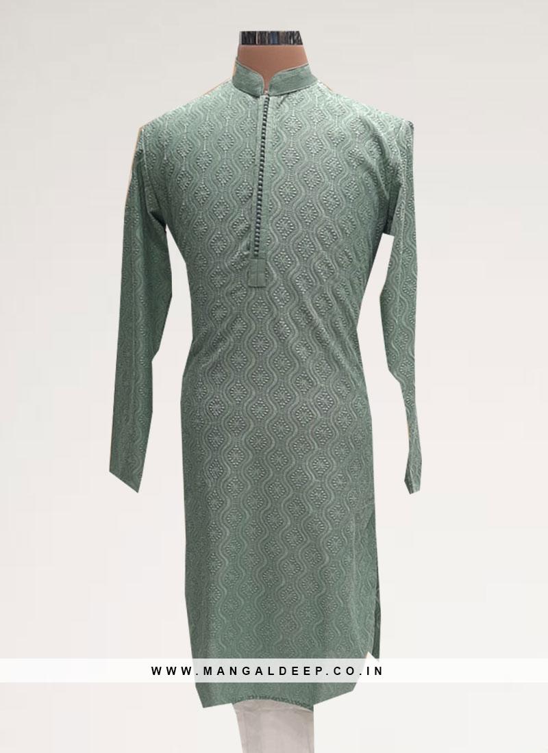 Wedding Function Wear Green Color Kurta Pajama