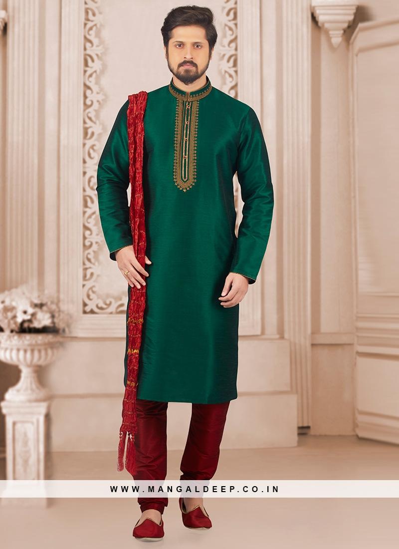 Wedding Function Wear Green Color Kurta Payjama