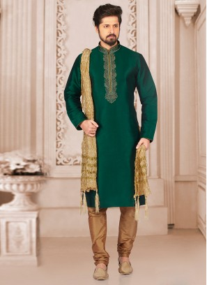 Wedding Function Wear Green Color Kurta Payjama