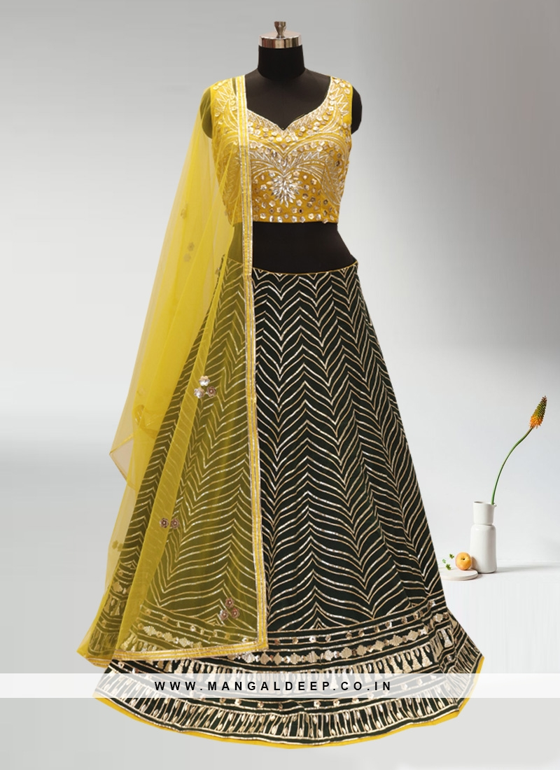 Wedding Function Wear Green Color Lehenga Choli