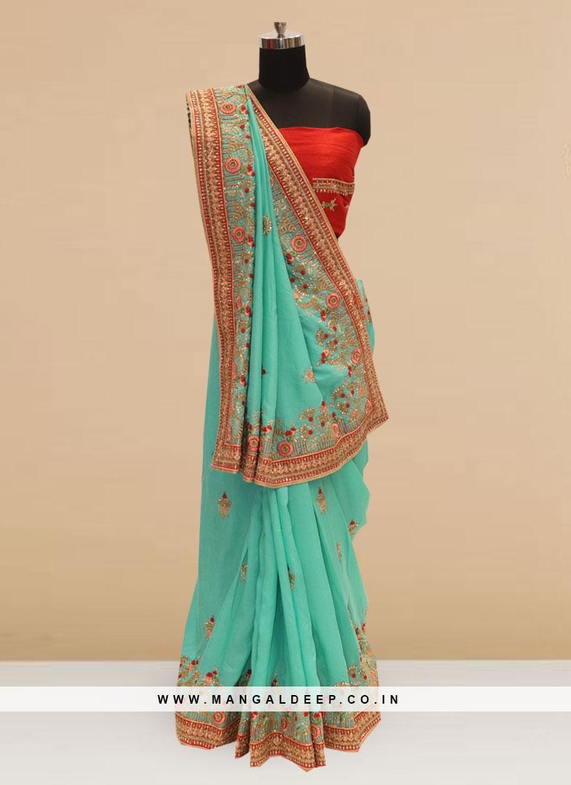 Wedding Function Wear Green Color Silk Saree