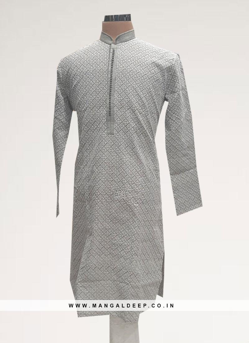 Wedding Function Wear Grey Color Kurta Pajama