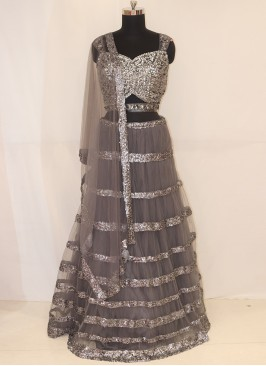 Wedding Function Wear Grey Color Lehenga Choli