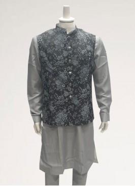 Wedding Function Wear Grey Color Men Kurta Pajama