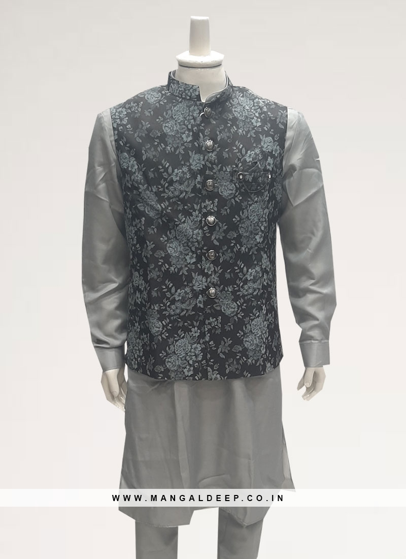 Wedding Function Wear Grey Color Men Kurta Pajama
