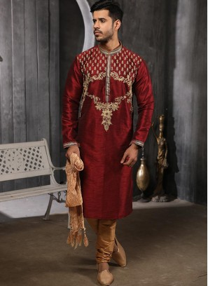 Wedding Function Wear Maroon Color Embroidered Kurta Pajama