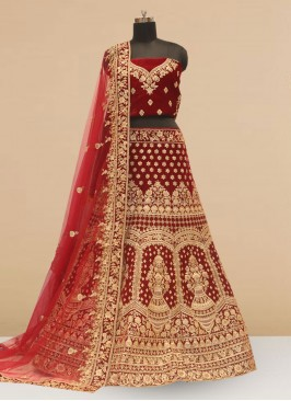 Wedding Function Wear Maroon Color Embroidered Lehenga Choli