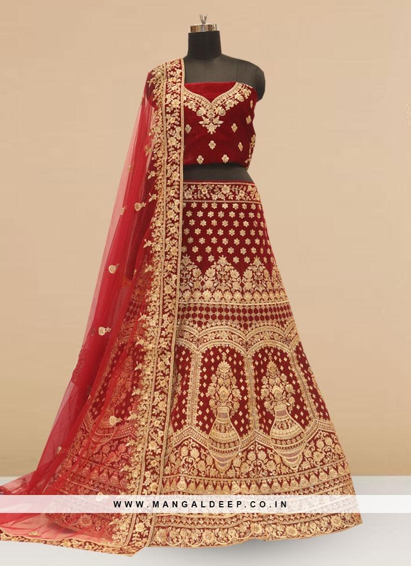Wedding Function Wear Maroon Color Embroidered Lehenga Choli