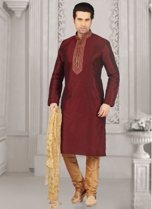 Wedding Function Wear Maroon Color Kurta Payjama