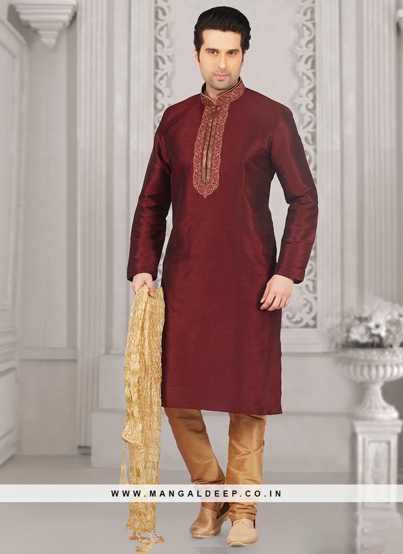 Wedding Function Wear Maroon Color Kurta Payjama