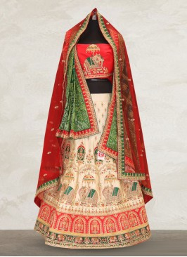 Wedding Function Wear Off White Color Designer Lehenga Choli