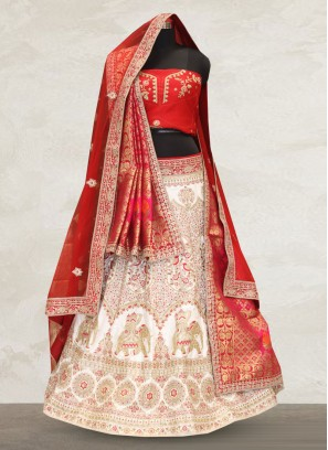 Wedding Function Wear Off White Color Designer Lehenga Choli
