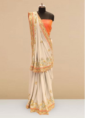 Wedding Function Wear Off White Color Silk Saree