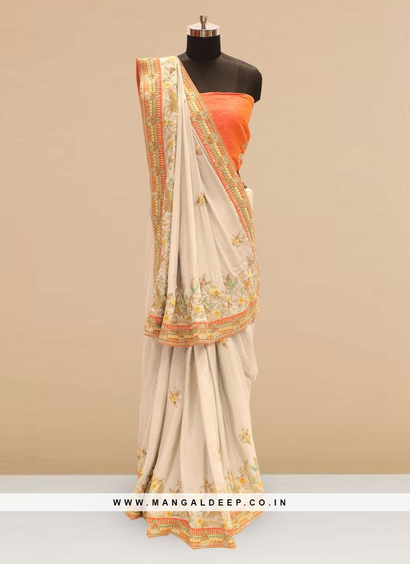 Wedding Function Wear Off White Color Silk Saree