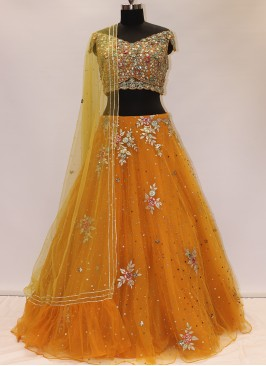 Wedding Function Wear Orange Color Net Lehenga Choli