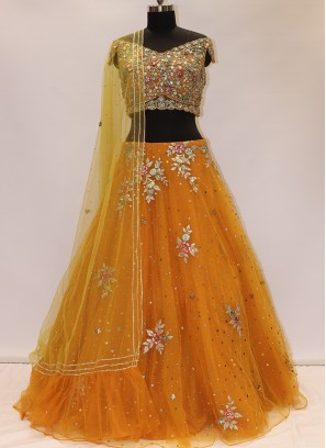 Wedding Function Wear Orange Color Net Lehenga Choli