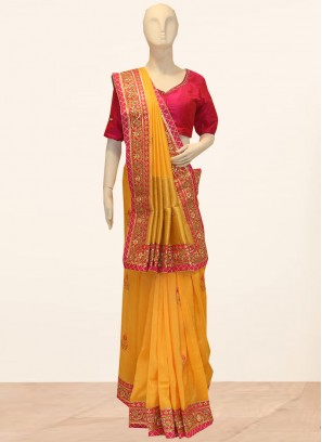 Wedding Function Wear Orange Color Designer Saree