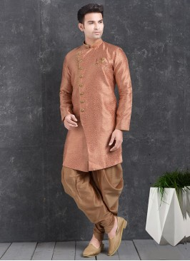 Wedding Function Wear Orange Color Indo Western Kurta Pajama
