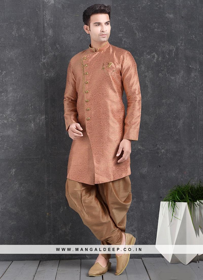 Wedding Function Wear Orange Color Indo Western Kurta Pajama