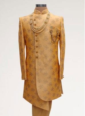 Wedding Function Wear Orange Color Men Indo Western Kurta Pajama