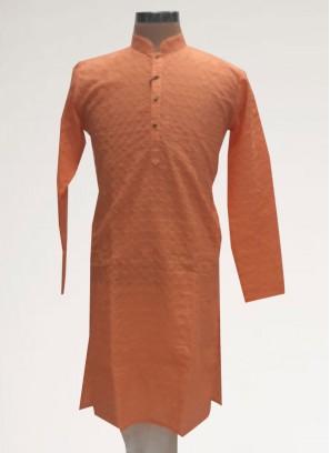 Wedding Function Wear Orange Color Men Kurta Pajama