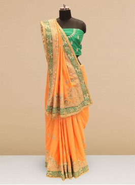 Wedding Function Wear Orange Color Silk Saree