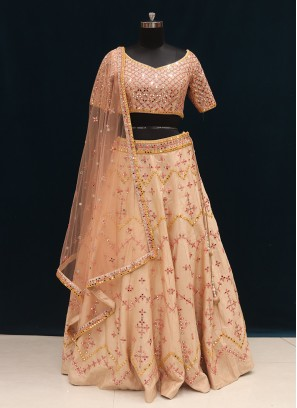 Wedding Function Wear Peach Color Designer Lehenga Choli