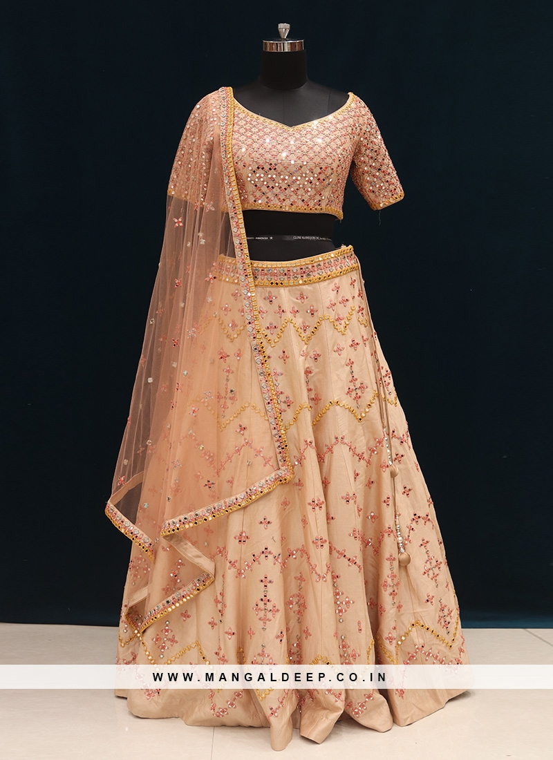 Wedding Function Wear Peach Color Designer Lehenga Choli