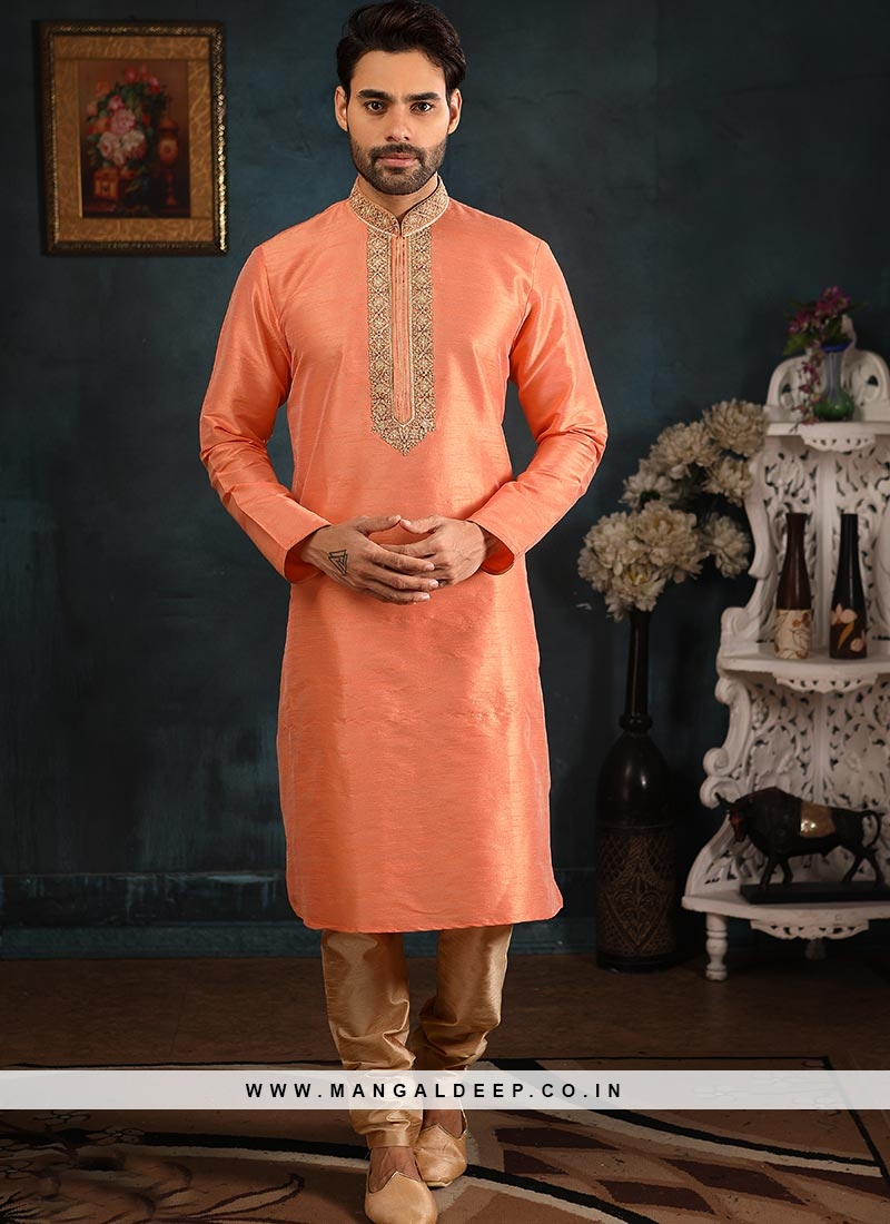 Wedding Function Wear Peach Color Embroidered Kurta Pajama