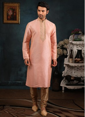 Wedding Function Wear Peach Color Embroidered Kurta Pajama