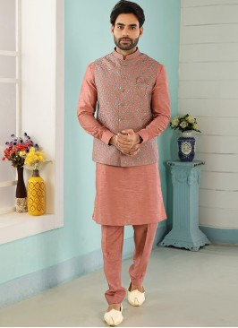 Wedding Function Wear Peach Color Kurta Pajama With Jacket