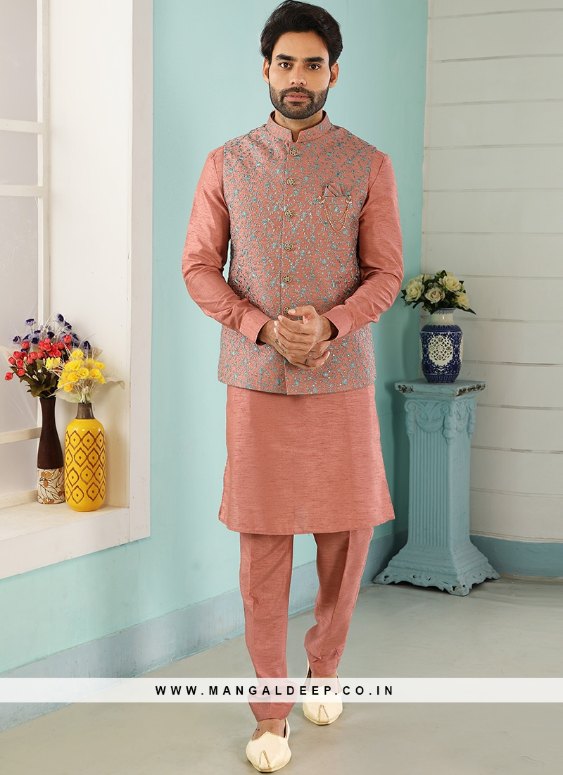 Wedding Function Wear Peach Color Kurta Pajama With Jacket