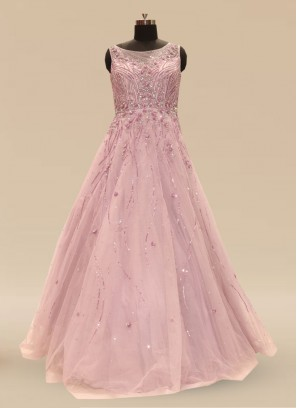 Wedding Function Wear Pink Color Net Gown