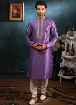 Wedding Function Wear Purple Color Embroidered Kurta Pajama