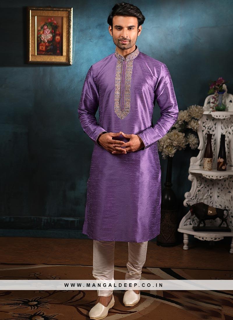 Wedding Function Wear Purple Color Embroidered Kurta Pajama