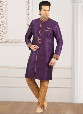 Wedding Function Wear Purple Color Semi Indo Suit