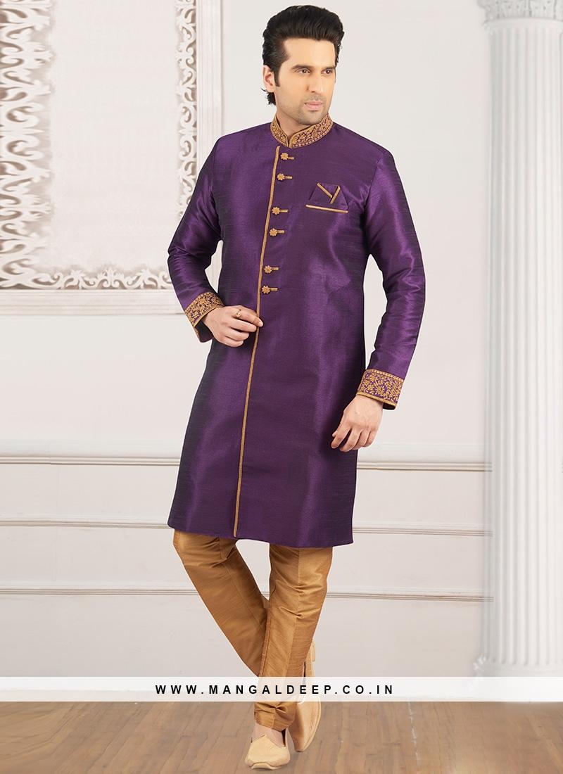 Wedding Function Wear Purple Color Semi Indo Suit