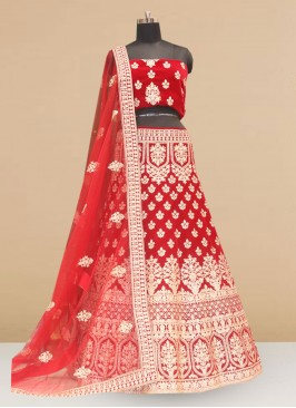 Wedding Function Wear Red Color Embroidered Lehenga Choli