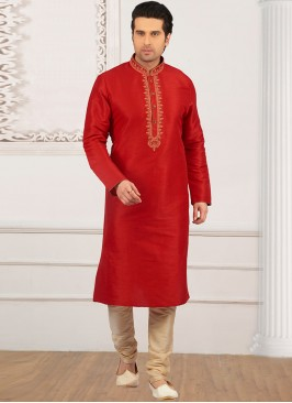Wedding Function Wear Red Color Kurta Payjama