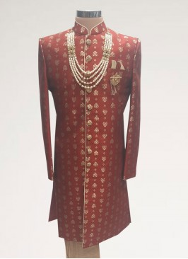 Wedding Function Wear Red Color Men Kurta Pajama