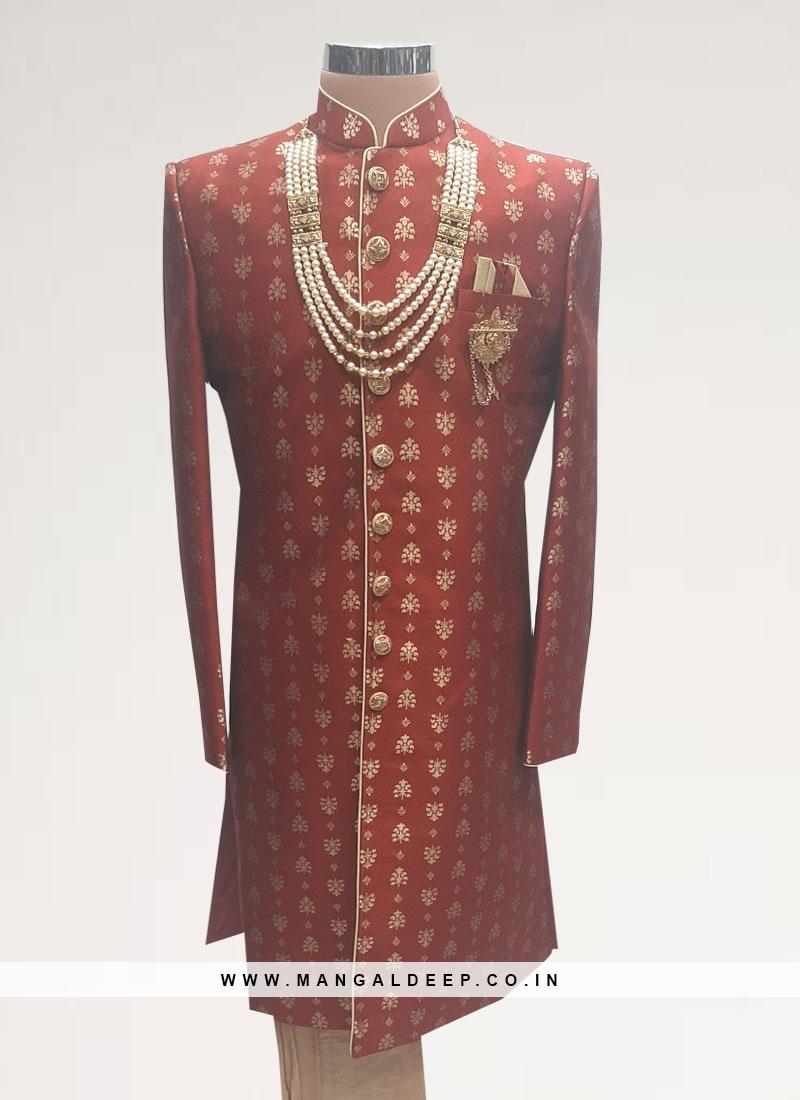 Wedding Function Wear Red Color Men Kurta Pajama